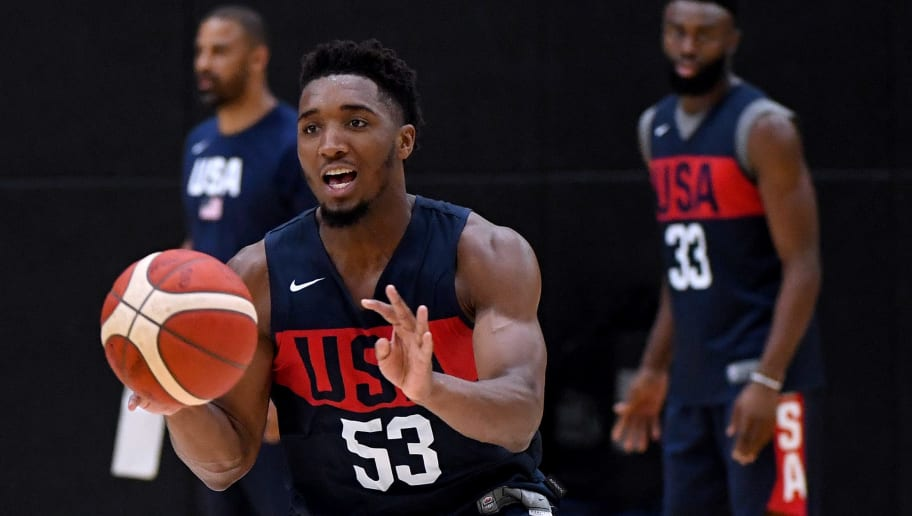 EL SEGUNDO, CALIFORNIA - AUGUST 13:  Donovan Mitchell #53 chases makes a pass during the 2019 USA Men's National Team World Cup training camp at UCLA Health Training Center on August 13, 2019 in El Segundo, California. (Photo by Harry How/Getty Images)
