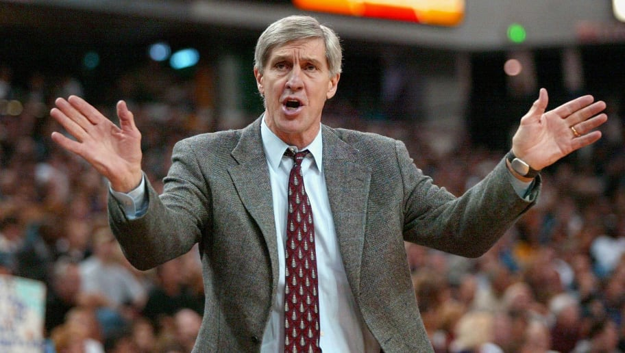 SACRAMENTO, UNITED STATES:  Utah Jazz head coach Jerry Sloan argues with the officials during a game against the Sacramento Kings, 26 February 2002, at the ARCO Arena in Sacramento, California.      AFP PHOTO/John G. MABANGLO (Photo credit should read JOHN G. MABANGLO/AFP/Getty Images)