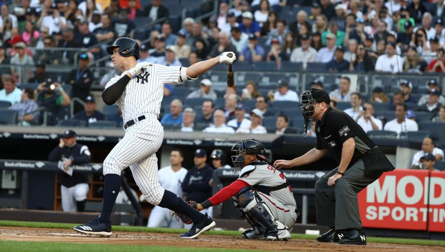 NEW YORK, NY - JUNE 12:  Aaron Judge #99 of the New York Yankees bats against the Washington Nationals during their game at Yankee Stadium on June 12, 2018 in New York City.  (Photo by Al Bello/Getty Images)