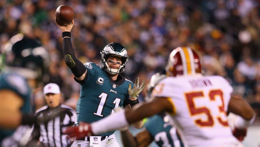 7196d18f14a PHILADELPHIA, PA - DECEMBER 03: Quarterback Carson Wentz #11 of the Philadelphia  Eagles