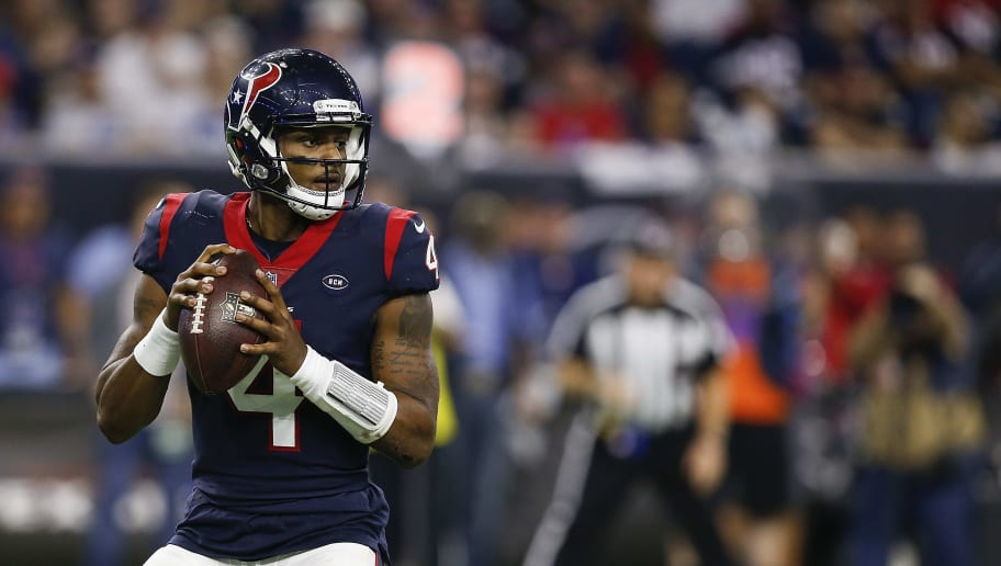 HOUSTON, TX - JANUARY 05:  Deshaun Watson #4 of the Houston Texans throws a pass during the fourth quarter Indianapolis Colts during the Wild Card Round at NRG Stadium on January 5, 2019 in Houston, Texas.  (Photo by Bob Levey/Getty Images)