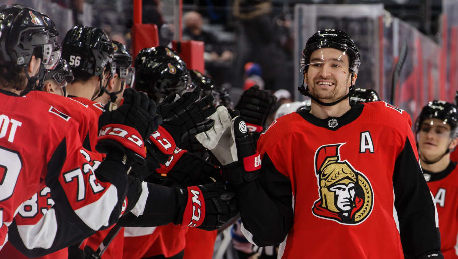 OTTAWA, ON - FEBRUARY 9:  Mark Stone #61 of the Ottawa Senators celebrates his first period goal against the Winnipeg Jets with team mates on the bench at Canadian Tire Centre on February 9, 2019 in Ottawa, Ontario, Canada.  (Photo by Jana Chytilova/Freestyle Photography/Getty Images)