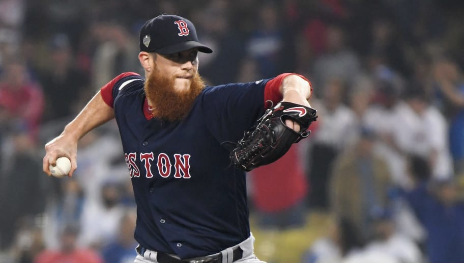 LOS ANGELES, CA - OCTOBER 27:  Closing pitcher Craig Kimbrel #46 of the Boston Red Sox pitches in the ninth inning in Game Four of the 2018 World Series against the Los Angeles Dodgers at Dodger Stadium on October 27, 2018 in Los Angeles, California.  (Photo by Harry How/Getty Images)