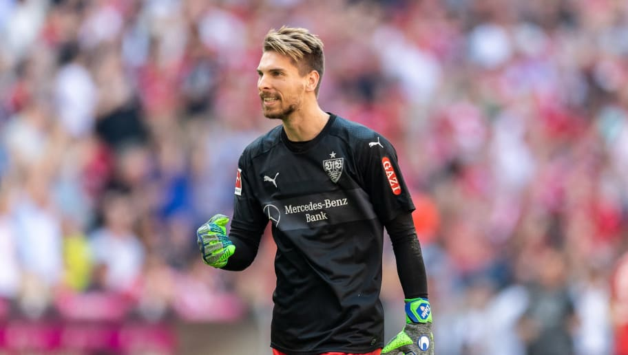 MUNICH, GERMANY - MAY 12: Goalkeeper Ron-Robert Zieler of VfB Stuttgart celebrates during the Bundesliga match between FC Bayern Muenchen and VfB Stuttgart at Allianz Arena on May 12, 2018 in Munich, Germany. (Photo by Boris Streubel/Getty Images)