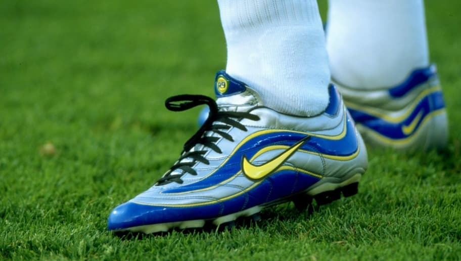 20 Jun 1998:  A close-up of Ronaldo's boots in the match between Brazil v Norway in the 1998 World Cup played in Marseille, France \ Mandatory Credit: Ben Radford /Allsport