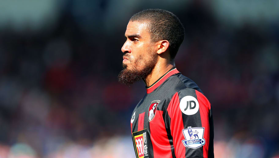 BOURNEMOUTH, ENGLAND - APRIL 02: Lewis Grabban of Bournemouth during the Barclays Premier League match between AFC Bournemouth and Manchester City at Vitality Stadium on April 2, 2016 in Bournemouth, England. (Photo by Catherine Ivill - AMA/Getty Images)