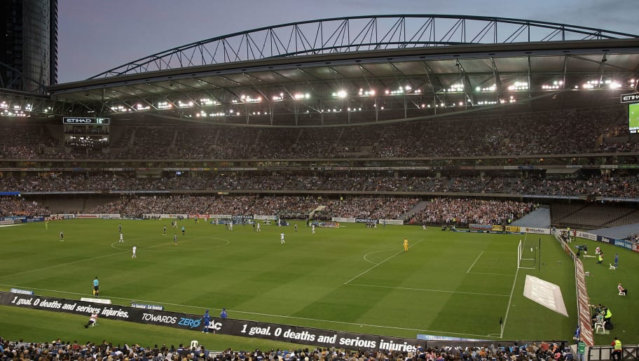 MELBOURNE, AUSTRALIA - OCTOBER 25:  A general view of play during the round three A-League match between the Melbourne Victory and Melbourne City at Etihad Stadium on October 25, 2014 in Melbourne, Australia.  (Photo by Robert Prezioso/Getty Images)