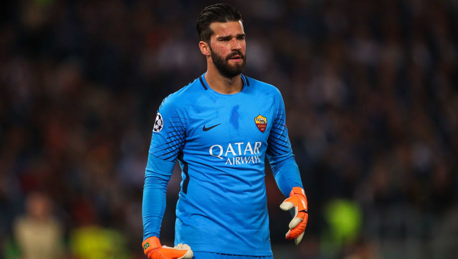 ROME, ITALY - MAY 02: Alisson Becker of AS Roma during the UEFA Champions League Semi Final Second Leg match between A.S. Roma and Liverpool at Stadio Olimpico on May 2, 2018 in Rome, Italy. (Photo by Robbie Jay Barratt - AMA/Getty Images)