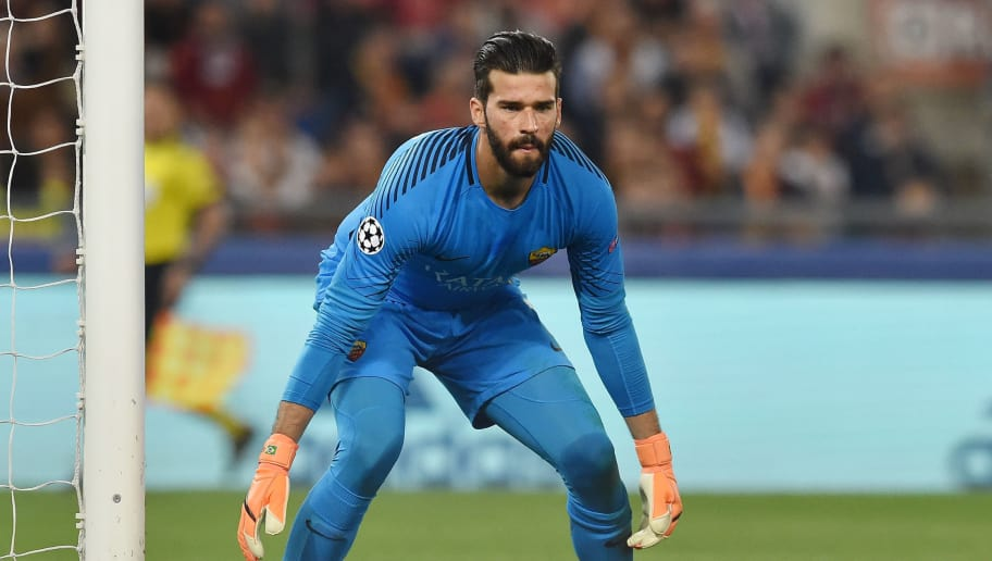 ROME, ITALY - MAY 02:  Alisson Becker of AS Roma in action during the UEFA Champions League Semi Final Second Leg match between A.S. Roma and Liverpool FC at Stadio Olimpico on May 2, 2018 in Rome, Italy.  (Photo by Giuseppe Bellini/Getty Images)