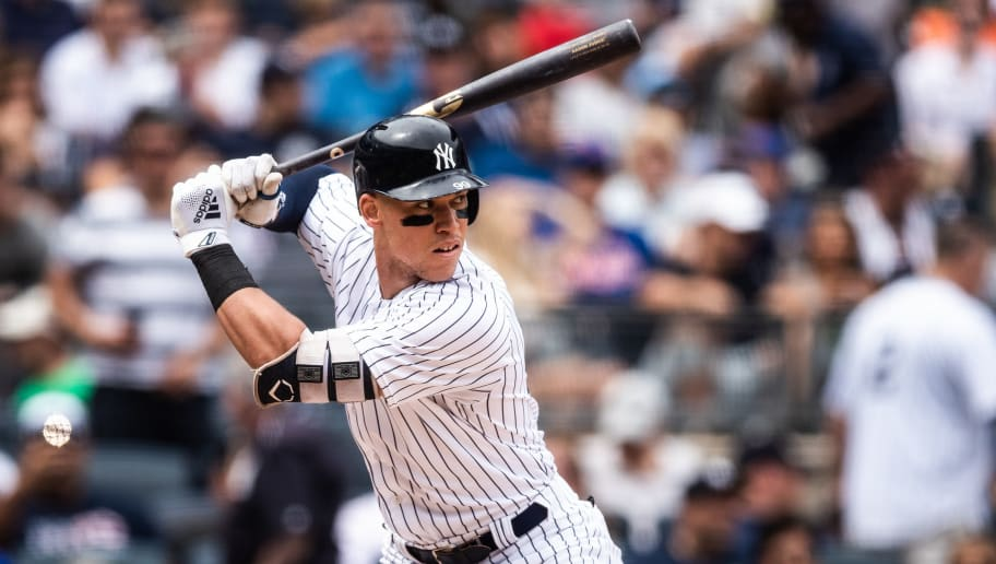 NEW YORK, NY - JULY 21:  Aaron Judge #99 of the New York Yankees bats during the game against the New York Mets at Yankee Stadium on July 21, 2018 in the Bronx borough of New York City. (Photo by Rob Tringali/SportsChrome/Getty Images)