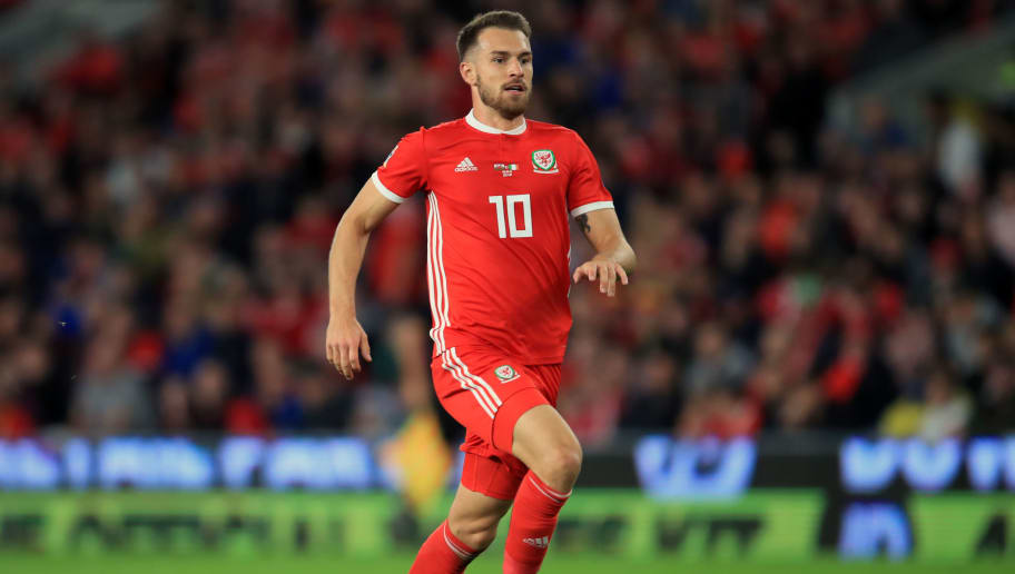 CARDIFF, WALES - SEPTEMBER 06: Aaron Ramsey of Wales during the UEFA Nations League B group four match between Wales and Republic of Ireland at Cardiff City Stadium on September 6, 2018 in Cardiff, United Kingdom. (Photo by Marc Atkins/Getty Images)