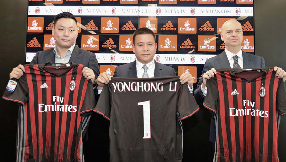 MILAN, ITALY - APRIL 14:  (L-R) AC Milan new board member David Han Li, new AC Milan Owner and President Yonghong Li, new AC Milan CEO Marco Fassone attend a press confernce to unveil AC Milan new owners  on April 14, 2017 in Milan, Italy.  (Photo by Studio Buzzi/AC Milan via Getty Images)