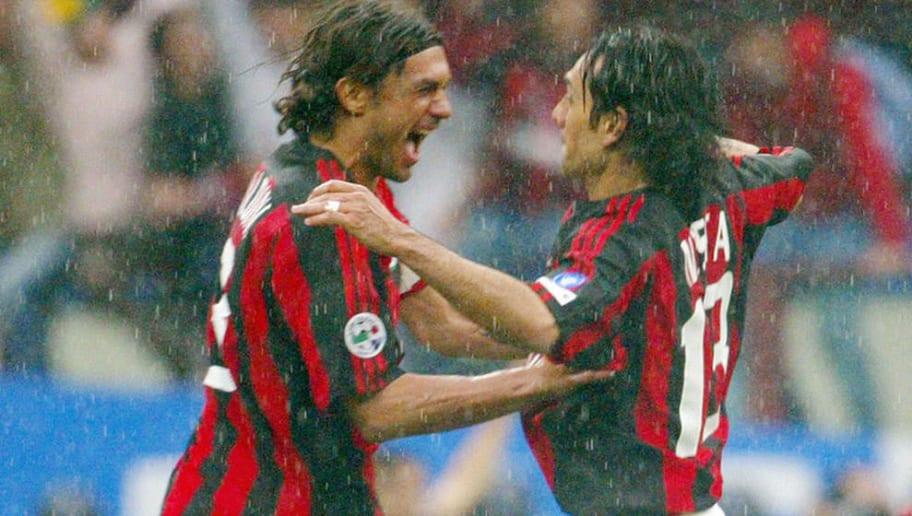 AC Milan's captain Paolo Maldini (L) jub