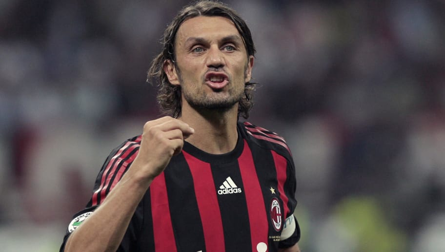 AC Milan's defender and captain Paolo Maldini gestures during his team's Italian Serie A football match against Juventus on May 10, 2009 at San Siro Stadium in Milan.   AFP PHOTO / Emilio Andreoli (Photo credit should read Emilio Andreoli/AFP/Getty Images)