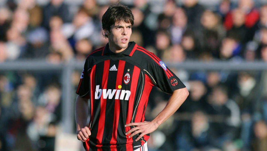 Bergamo, ITALY:  AC Milan's midfielder Ricardo Kaka is pictured during Italian serie A football match against Atalanta  at Bergamo's Azzurii D'Italia Comunale stadium, 05 November 2006.    AFP PHOTO / FILIPPO MONTEFORTE  (Photo credit should read FILIPPO MONTEFORTE/AFP/Getty Images)