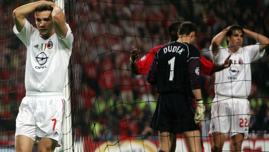 Istanbul, Turkey:  AC Milan's Ukrainian forward Andriy Shevchenko (L) reacts after missing a penalty kick during the UEFA Champions league football final AC Milan vs Liverpool, 25 May 2005 at the Ataturk Stadium in Istanbul. Liverpool won 3-2 on penalties. AFP PHOTO FILIPPO MONTEFORTE  (Photo credit should read FILIPPO MONTEFORTE/AFP/Getty Images)