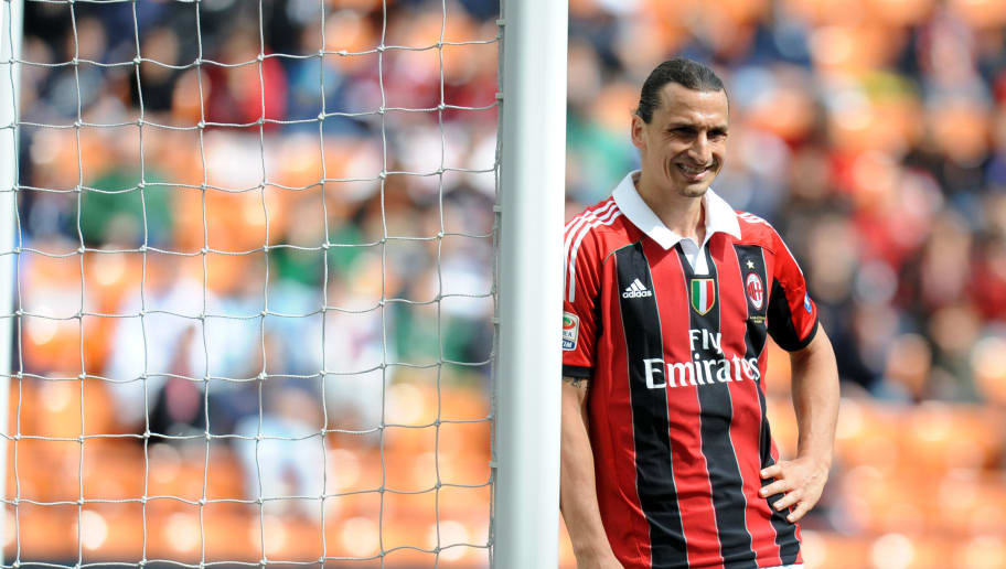 AC Milan's zlatan Ibrahimovic reacts during the Italian Serie A football match between AC Milan vs Novara on May 13, 2012 in Milan. AFP PHOTO / ALBERTO LINGRIA        (Photo credit should read ALBERTO LINGRIA/AFP/GettyImages)