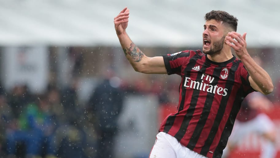 MILAN, ITALY - MARCH 18:  Patrick Cutrone of AC Milan celebrates his goal during the serie A match between AC Milan and AC Chievo Verona at Stadio Giuseppe Meazza on March 18, 2018 in Milan, Italy.  (Photo by Emilio Andreoli/Getty Images)