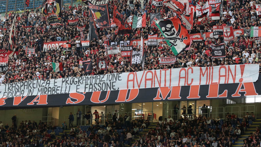MILAN, ITALY - MAY 20:  AC Milan fans show their support during the serie A match between AC Milan and ACF Fiorentina at Stadio Giuseppe Meazza on May 20, 2018 in Milan, Italy.  (Photo by Emilio Andreoli/Getty Images)