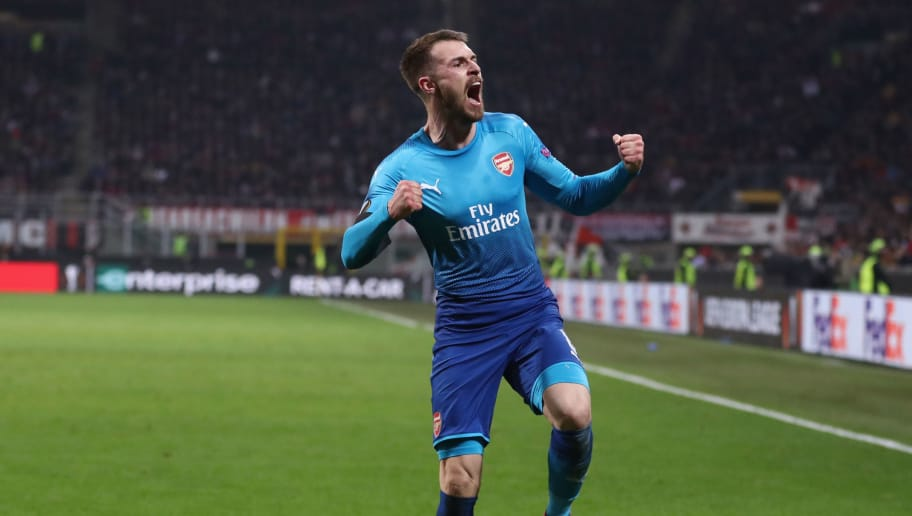 MILAN, ITALY - MARCH 08:  Aaron Ramsey of Arsenal celebrates after scoring during the UEFA Europa League Round of 16 match between AC Milan and Arsenal at the San Siro on March 8, 2018 in Milan, Italy.  (Photo by Catherine Ivill/Getty Images)