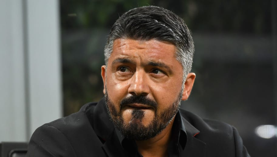 MILAN, ITALY - AUGUST 31:  Gennaro Gattuso head coach of AC Milan looks on during the serie A match between AC Milan and AS Roma at Stadio Giuseppe Meazza on August 31, 2018 in Milan, Italy.  (Photo by Alessandro Sabattini/Getty Images)
