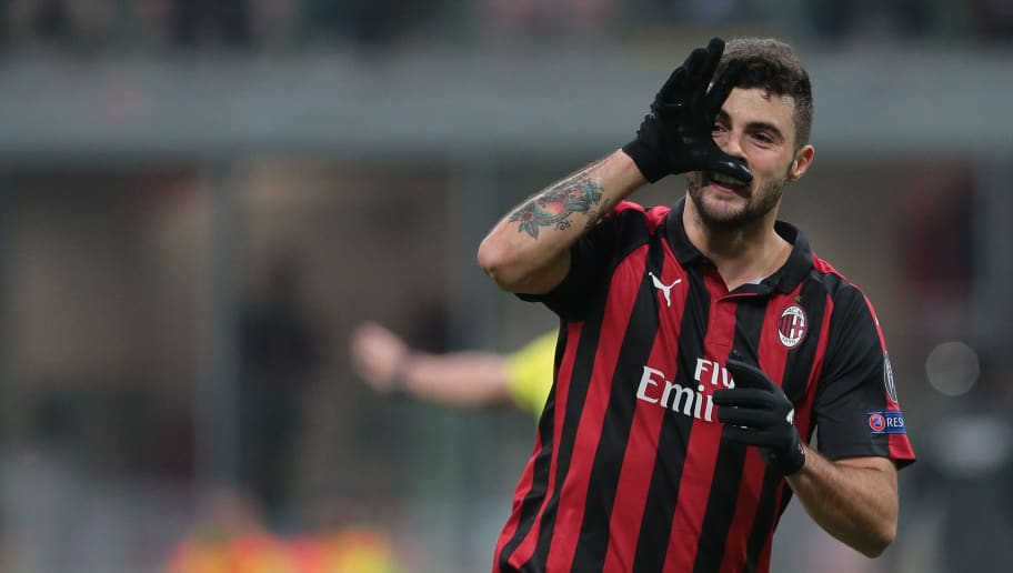 MILAN, ITALY - NOVEMBER 29:  Patrick Cutrone of AC Milan celebrates after scoring the opening goal during the UEFA Europa League Group F match between AC Milan and F91 Dudelange at Stadio Giuseppe Meazza on November 29, 2018 in Milan, Italy.  (Photo by Emilio Andreoli/Getty Images)