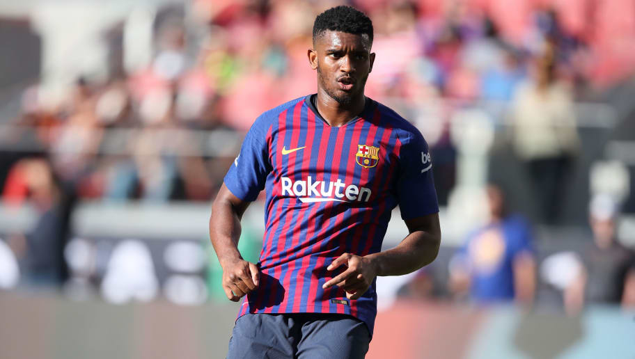 SANTA CLARA, CA - AUGUST 04: Marlon Santos of FC Barcelona during the International Champions Cup 2018 match between AC Milan and FC Barcelona at Levi's Stadium on August 4, 2018 in Santa Clara, California. (Photo by Matthew Ashton - AMA/Getty Images)