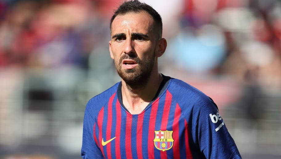 SANTA CLARA, CA - AUGUST 04: Paco Alcacer of FC Barcelona during the International Champions Cup 2018 match between AC Milan and FC Barcelona at Levi's Stadium on August 4, 2018 in Santa Clara, California. (Photo by Matthew Ashton - AMA/Getty Images)