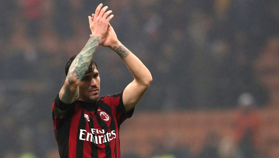 MILAN, ITALY - APRIL 04:  Alessio Romagnoli of AC Milan salutes the fans at the end of Serie A match between AC Milan and FC Internazionale at Stadio Giuseppe Meazza on April 4, 2018 in Milan, Italy.  (Photo by Marco Luzzani/Getty Images)