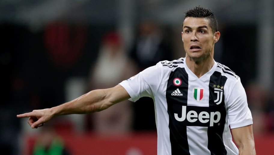 MILAN, ITALY - NOVEMBER 11: Cristiano Ronaldo of Juventus during the Italian Serie A   match between AC Milan v Juventus at the San Siro on November 11, 2018 in Milan Italy (Photo by Jeroen Meuwsen/Soccrates /Getty Images)