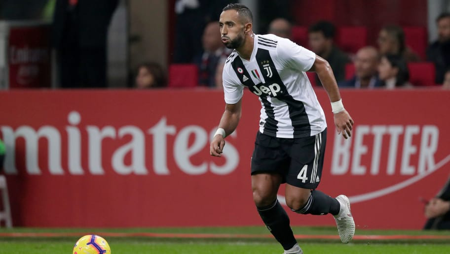 MILAN, ITALY - NOVEMBER 11: Medhi Benatia of Juventus  during the Italian Serie A   match between AC Milan v Juventus at the San Siro on November 11, 2018 in Milan Italy (Photo by Jeroen Meuwsen/Soccrates/Getty Images)