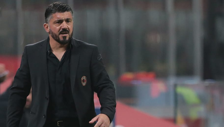 MILAN, ITALY - NOVEMBER 11:  AC Milan coach Ivan Gennaro Gattuso looks on during the Serie A match between AC Milan and Juventus at Stadio Giuseppe Meazza on November 11, 2018 in Milan, Italy.  (Photo by Emilio Andreoli/Getty Images)