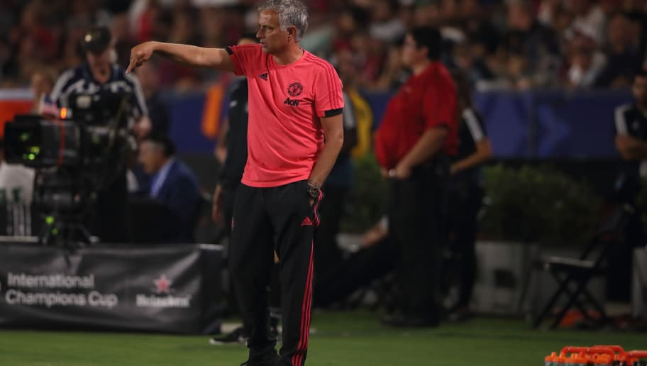 CARSON, CA - JULY 25: Jose Mourinho the head coach / manager of Manchester United during the International Champions Cup 2018 match between AC Milan and Manchester United at StubHub Center on July 25, 2018 in Carson, California. (Photo by Matthew Ashton - AMA/Getty Images)