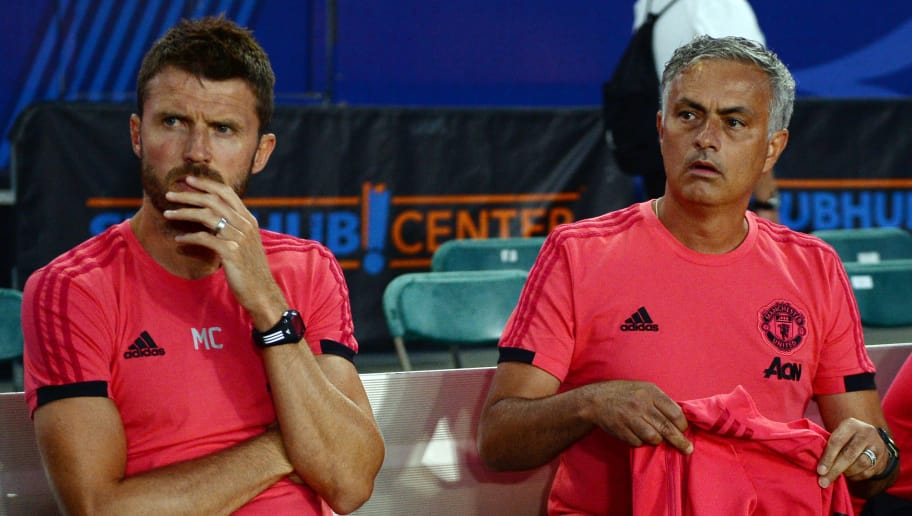 CARSON, CA - JULY 25: Manager Jose Mourinho (R) and coach Michael Carrick during an International Champions Cup 2018 match against AC Milan at the StubHub Center on July 25, 2018 in Carson, California. (Photo by Kevork Djansezian/Getty Images)