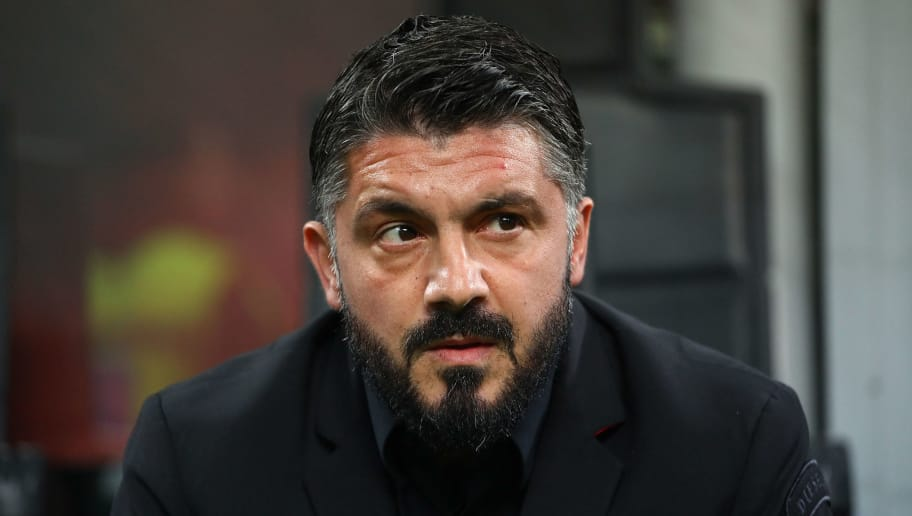 MILAN, ITALY - DECEMBER 29:  AC Milan coach Gennaro Gattuso looks on before the Serie A match between AC Milan and SPAL at Stadio Giuseppe Meazza on December 29, 2018 in Milan, Italy.  (Photo by Marco Luzzani/Getty Images)