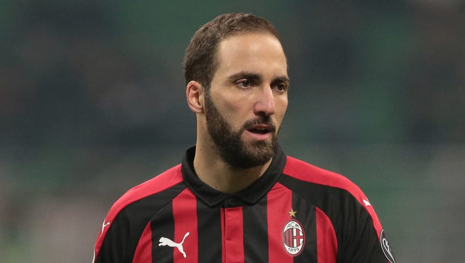 MILAN, ITALY - DECEMBER 29:  Gonzalo Higuain of AC Milan looks on during the Serie A match between AC Milan and SPAL at Stadio Giuseppe Meazza on December 29, 2018 in Milan, Italy.  (Photo by Emilio Andreoli/Getty Images)