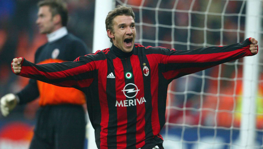 MILAN, ITALY - MARCH 10:  Andriy Shevchenko of Milan celebrates his goal during the UEFA Champions League, Second Leg match between AC Milan and Sparta Prague at The San Siro on March 10, 2004 in Milan, Italy.  (Photo by Jamie McDonald/Getty Images)