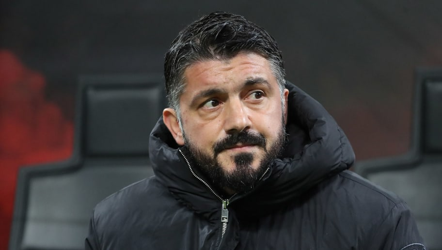 MILAN, ITALY - DECEMBER 09:  AC Milan coach Gennaro Gattuso looks on before the Serie A match between AC Milan and Torino FC at Stadio Giuseppe Meazza on December 9, 2018 in Milan, Italy.  (Photo by Marco Luzzani/Getty Images)