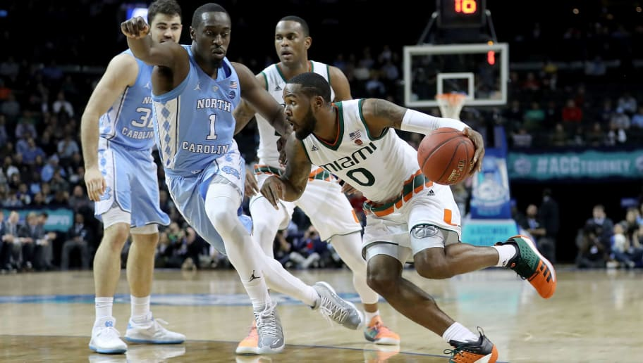 NEW YORK, NY - MARCH 08: Ja'Quan Newton #0 of the Miami (Fl) Hurricanes dribbles to the basket in the second half against the North Carolina Tar Heels during the quarterfinals of the ACC Men's Basketball Tournament at Barclays Center on March 8, 2018 in the Brooklyn borough of New York City.  (Photo by Abbie Parr/Getty Images)