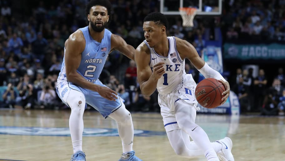 NEW YORK, NY - MARCH 09:  Trevon Duval #1 of the Duke Blue Devils drives against Joel Berry II #2 of the North Carolina Tar Heels during the semifinals of the ACC Men's Basketball Tournament at the  Barclays Center on March 9, 2018 in New York City.  (Photo by Al Bello/Getty Images)