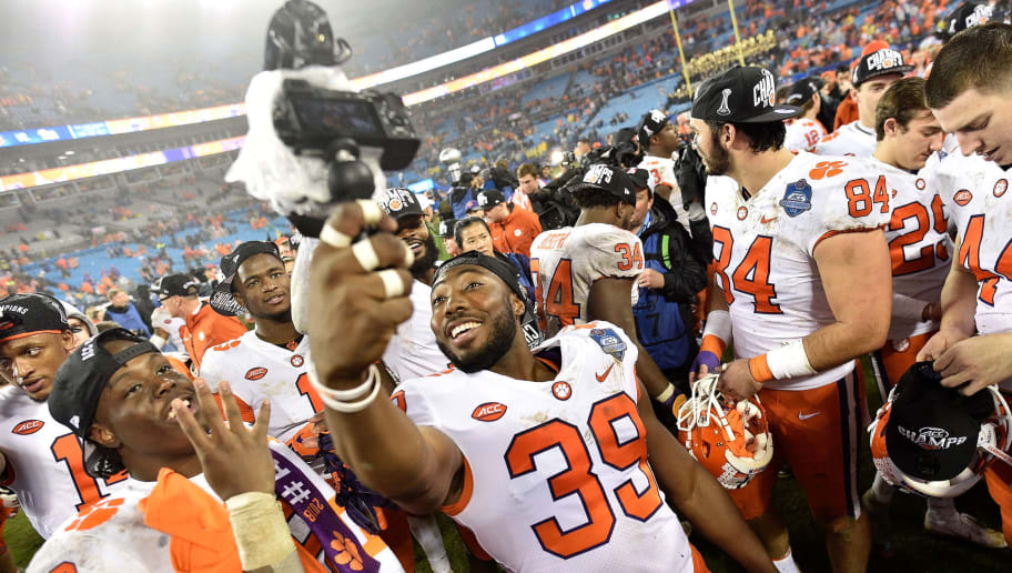CHARLOTTE, NC - DECEMBER 01:  Clemson Tigers players celebrate after their ACC Championship game win against the Pittsburgh Panthers at Bank of America Stadium on December 1, 2018 in Charlotte, North Carolina. Clemson won 42-10.  (Photo by Grant Halverson/Getty Images)