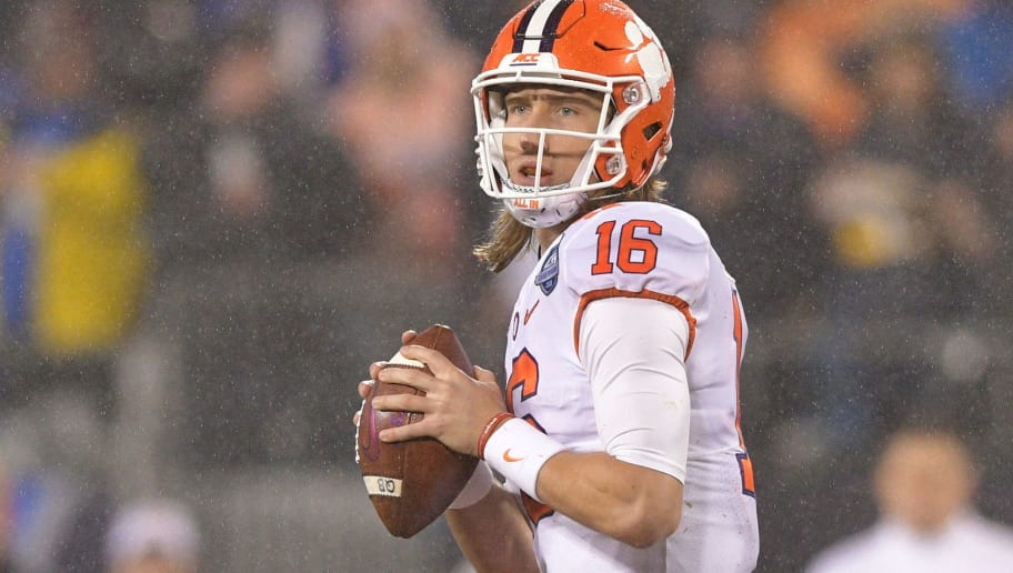 CHARLOTTE, NC - DECEMBER 01:  Trevor Lawrence #16 of the Clemson Tigers throws a pass against the Pittsburgh Panthers in the second quarter during their game at Bank of America Stadium on December 1, 2018 in Charlotte, North Carolina.  (Photo by Grant Halverson/Getty Images)