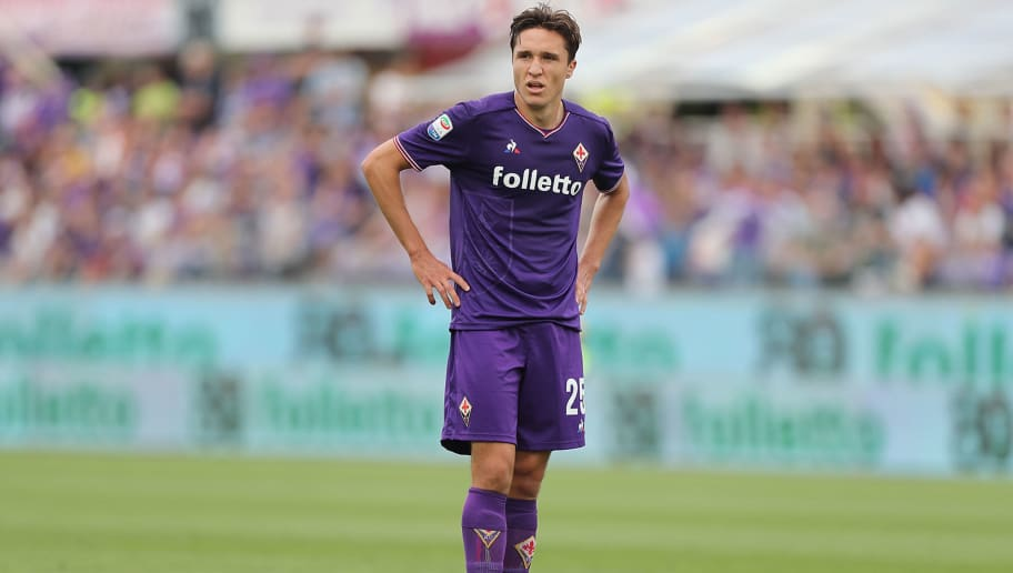 FLORENCE, ITALY - MAY 13: Federico Chiesa of ACF Fiorentina reacts during the serie A match between ACF Fiorentina and Cagliari Calcio at Stadio Artemio Franchi on May 13, 2018 in Florence, Italy.  (Photo by Gabriele Maltinti/Getty Images)