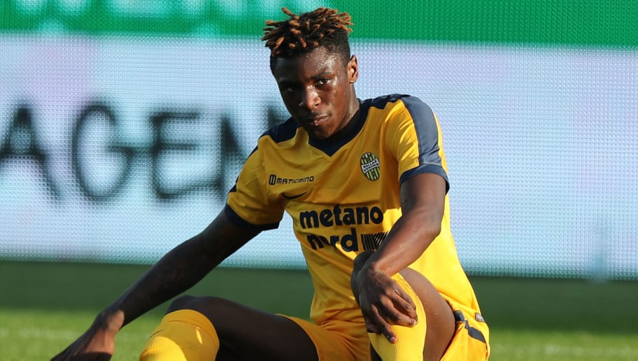 FLORENCE, ITALY - JANUARY 28: Moise Kean of Hellas Verona FC in action during the serie A match between ACF Fiorentina and Hellas Verona FC at Stadio Artemio Franchi on January 28, 2018 in Florence, Italy.  (Photo by Gabriele Maltinti/Getty Images)