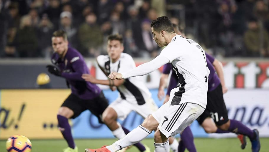 FLORENCE, ITALY - DECEMBER 01:  Juentus player Cristiano Ronaldo scores 0-3 goal during the Serie A match between ACF Fiorentina and Juventus at Stadio Artemio Franchi on December 1, 2018 in Florence, Italy.  (Photo by Daniele Badolato - Juventus FC/Getty Images)