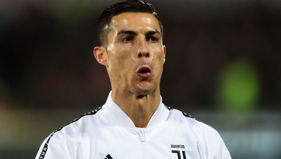 FLORENCE, ITALY - DECEMBER 01: Cristiano Ronaldo of Juventus reacts during the Serie A match between ACF Fiorentina and Juventus at Stadio Artemio Franchi on December 1, 2018 in Florence, Italy.  (Photo by Gabriele Maltinti/Getty Images)