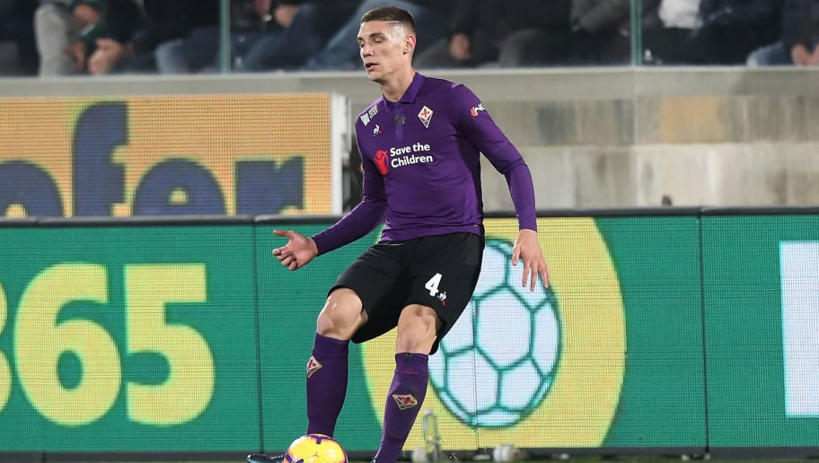 FLORENCE, ITALY - DECEMBER 01: Nikola Milenkovic of ACF Fiorentina in action during the Serie A match between ACF Fiorentina and Juventus at Stadio Artemio Franchi on December 1, 2018 in Florence, Italy.  (Photo by Gabriele Maltinti/Getty Images)