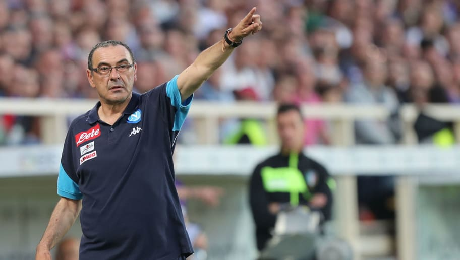 FLORENCE, ITALY - APRIL 29: Maurizio Sarri manager of SSC Napoli gestures during the serie A match between ACF Fiorentina and SSC Napoli at Stadio Artemio Franchi on April 29, 2018 in Florence, Italy.  (Photo by Gabriele Maltinti/Getty Images)