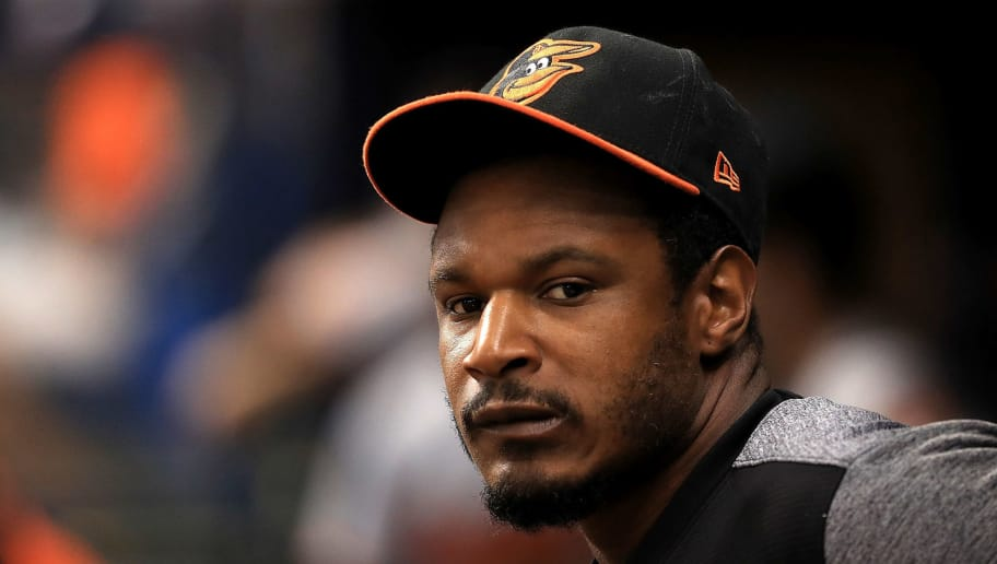 ST PETERSBURG, FL - AUGUST 09:  Adam Jones #10 of the Baltimore Orioles looks on during a game against the Tampa Bay Rays at Tropicana Field on August 9, 2018 in St Petersburg, Florida.  (Photo by Mike Ehrmann/Getty Images)