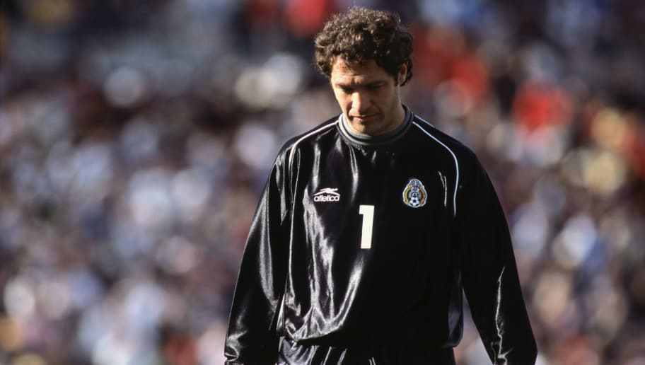 19 Jan 2002:  Goaltender Adrian Martinez #1 of Mexico walks on the pitch during the Gold Cup match against El Salvador at the Rose Bowl in Pasadena, California.  Mexico shut out El Salvador 1-0.\ Mandatory Credit:  Christopher Ruppel/Getty Images